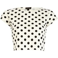River Island Cream polka dot textured cap sleeve crop top