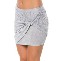 Twisted Asymmetrical Mini Skirt in Gray