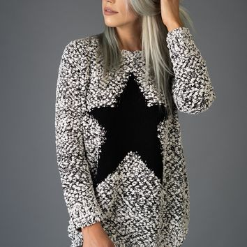 Black and White Star Sweater Top
