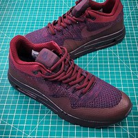 Nike Air Max 1 Ultra Flyknit Og Wine Red Sport Running Shoes - Best Online Sale
