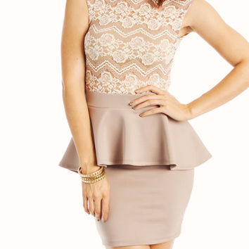 lace-peplum-dress MAUVE - GoJane.com