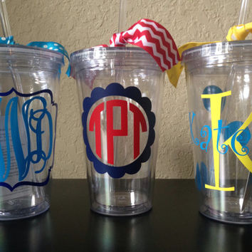Monogrammed Cup Tumbler w/ Lid & Straw