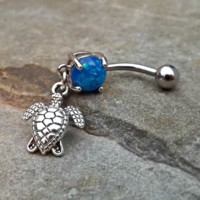 Fire Opal Turtle Blue Belly Ring Navel Ring Body Jewelry 14ga Surgical Steel