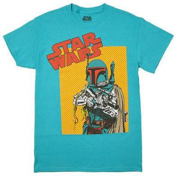 Star Wars Boba Fett Pop Comic Art Licensed Adult T-Shirt - Seafoam Blue - XX