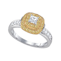 Diamond 0.25cr Center Princess Stone Bridal Ring in 14k White Gold 0.89 ctw