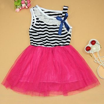 Summer fashion new baby girl ball gown dress lace+cotton material 4 colors Stripe Bow Party Tutu Princess Dress