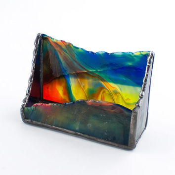 Colorful Stained Glass Business Card Holder, Desktop Accessories, Boss Gift, Desk Organization, Unique Office Decor, Gift for Him