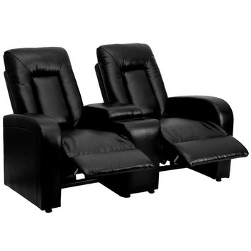 Black Leather 2-Seat Home Theater Recliner with Storage Console