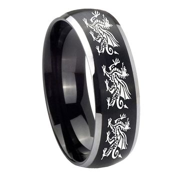 8MM Matte Brush Black Dome Multiple Dragon 2 Tone Tungsten Laser Engraved Ring