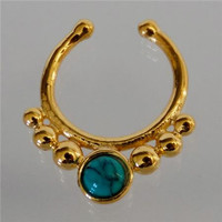 Unique Gold Plated Septum For Non Pierced Nose - Septum Jewelry - Indian Nose Ring - Ethnic Septum - Septum Piercing - Nose Jewelry