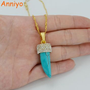 Anniyo Stone Necklace for Women Gold Color Pendant With Rhinestone Africa/Arab Ethiopian Jewelry #033006