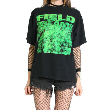 80s Field Of Dreams Black T-Shirt - Stoner Weed Marijuana Cannabis - 80s Clothing - Tee Tshirt - Weed Shirt - Pot Leaf - Vintage Soft Grunge