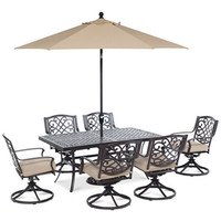Park Gate Outdoor Cast Aluminum 7-Pc. Dining Set (68 x 38 Dining Table and 6 Swivel Rockers) - Furniture - Macy's