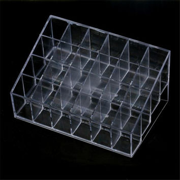 Crazycity Generic 24 Stand Trapezoid Clear Lipstick Lotion Makeup Cosmetic Holder Organizer