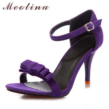 Meotina Shoes Women Sandals 2017 Summer Big Size 9 10 43 Ankle Strap High Heels Sandals Bow Ladies Sandals Purple Green Shoes