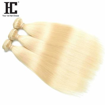 HC Hair Company Malaysian Straight Hair Human Hair Extensions 12 To 24 Inch One Piece Non-Remy Hair Weaving 613 Blonde Bundles