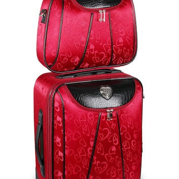 Red Heart Rolling Luggage & Cosmetic Case Set