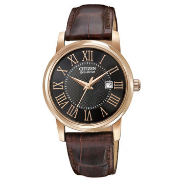 Citizen EW1569-01E Women's Rose Gold Steel Brown Leather Strap Eco-Drive Watch