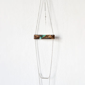 Geometric brown wooden chain necklace, faceted