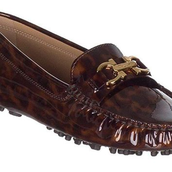 Salvatore Ferragamo Women's Saba Tortoise Patent Leather Gancini Loafer Drivers Shoes