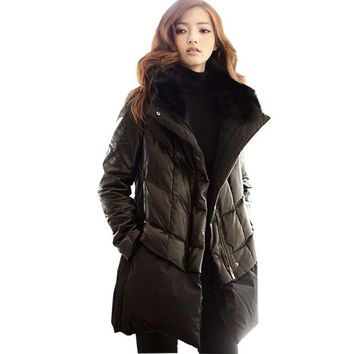 PU Leather Down Cotton Parka Plus size Fur collar Thick Winter Jacket Women New 2017 Coat Female Feather Padded Outerwear 6XL