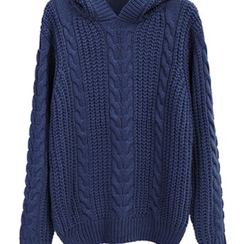 Navy Chunky Cable Long Sleeve Hooded Loose Knit Sweater