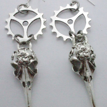 Steampunk Earrings Bird Skull, Crow Raven Head, Silver Gears, Gunmetal Charms, Halloween, Free Shipping (Canada)