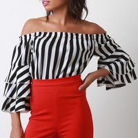 Layered Ruffle Sleeve Off-The-Shoulder Top