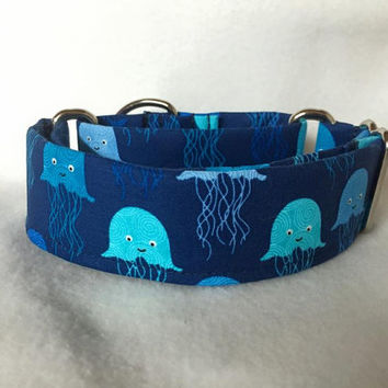 "Splash Jelly Fish Navy Martingale or Quick Release 5/8"" Quick Release 3/4"" 1"" Martingale 1.5"" Martingale 2"""