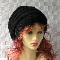 Knit Hat Womens Hat Slouchy Beanie - Black Knit Hat - Womens Accessories Dread Hat