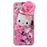MinisDesign Dream Garden Series 3D Bling Luxury Design Rhinestone Pink Hello Kitty Diamond iPhone 5 case for The New Apple iPhone 5 (Package includes: 1 X Screen Protector and Extra Rhinestones)