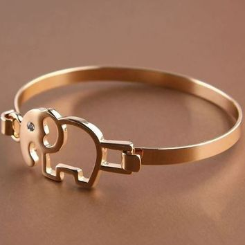 Cute Golden Elephant Fashion Cuff Bangle - LilyFair Jewelry