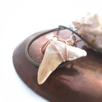 Women's Shark Tooth Necklace / Queen of the Sea Goddess Jewelry / Copper Wire SharkTooth Jewelry / Shark Tooth & Quartz Pendant Shark Fossil