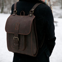 "13"" Chocolate Brown Leather Backpack"