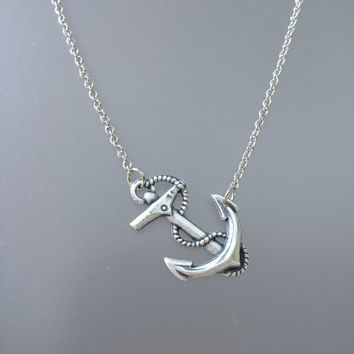 Anchor Necklace by SBC Oxidized Sterling Silver Plated Brass Anchor, Antique Silver Chain, Sideways Anchor Necklace, Nautical Necklace, Ahoy