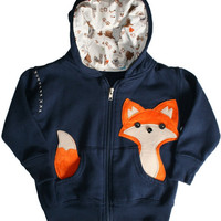 Baby Fantastic Mr. Pocket Fox Zip Up Hoodie Navy Blue