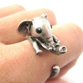 Adorable Elephant Shaped Animal Wrap Ring in Silver | US Sizes 7 to 9
