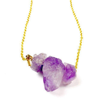 Amethyst Stone Necklace - February Birthstone Jewelry, Purple Gemstone Pendant, Birthday Gift, Purple Necklace, Natural Stone, Raw Stone