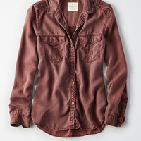 AEO Soft Utility Shirt, Raisin Red