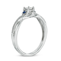 Cherished Promise Collection™ Diamond Accent and Blue Sapphire Twist Ring in Sterling Silver - Size 6