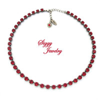 Swarovski® Crystal Necklace, 6mm Red, Valentine's Day, Assorted Finishes, Colors and Lengths, Scarlet, Ruby, Siam, Gift Packaged