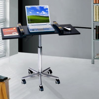 Foldable Laptop Cart With Five Wheels Adjustable Height Home Office Furniture