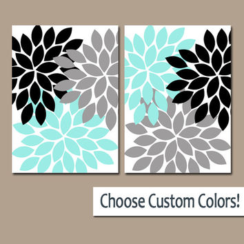 Aqua Black Gray WALL Art Canvas or Prints Bathroom Artwork Bedroom Pictures Nursery Decor Floral Dahlia Flower Burst Petal Set of 2