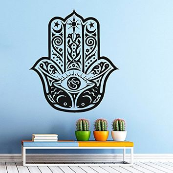Hamsa Hand Wall Decal Vinyl Sticker Decals Lotus Flower Yoga Namaste Indian Ornament Moroccan Pattern Om Mandala Home Decor Bedroom Art Design Interior NS329