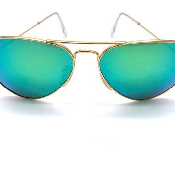Cheap *New* Ray-Ban Green Flash Aviator Sunglasses Gold Frame RB3025 112/19 58MM outlet