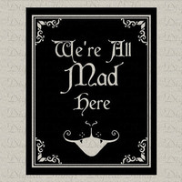 Alice In Wonderland We're All Mad Here Cheshire Cat Children Art Digital Download for Fabric Iron on Transfer Fabric Pillow Tea Towel DT1076