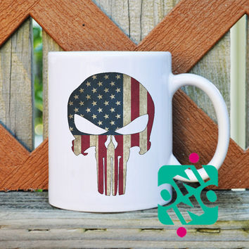 Punisher Skull on US Flag Coffee Mug, Ceramic Mug, Unique Coffee Mug Gift Coffee