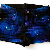 Etsy Transaction -        Beautiful Hand Painted Black Denim Galaxy Comic Nebula Hipster Rocker Shorts Cut Offs
