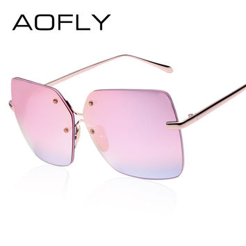 AOFLY Sunglasses Popular Luxury Brand Design Square Sunglasses Women Rimless Mirror Sun glasses for Women Vintage Shades UV400