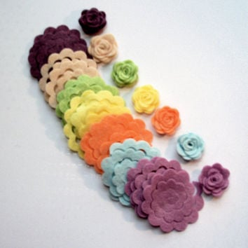 25 Wool  Felt Roses. 1X1 delicate wool felt roses when finished, felt cut out, rose, vintage rose, felt flowers, felt flowers, felt cut outs